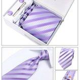Мужской галстук фиолетовый в полоску код GB007