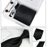 Строгий галстук черного цвета в наборе код GB006