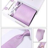 Фиолетовый галстук с запонками в подарочной упаковке код GB009