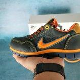 Детские кожаные кроссовки Nike Синий рыжий