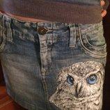 Джинсовая юбка ручная роспись сова р.38