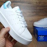 Кроссовки женские Adidas Stan Smith white/blue