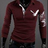 Мужская кофта, свитер красного цвета с принтом на спине M-XXL