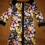 Яркое эффектное платье длинная рубашка в цветочный принт от asos