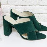 Кожаные и замшевые шлепанцы на каблуке 17048 ,р-ры 36-40,любой цвет