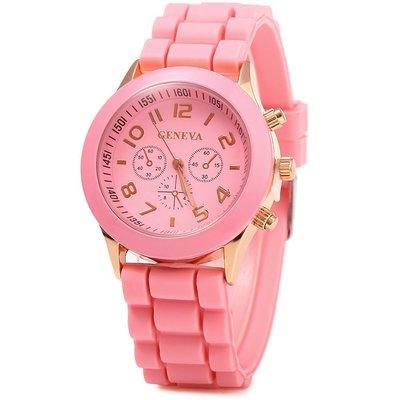 Женские часы Geneva с силиконовым ремешком розовогоцвета