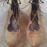 Новые балетки на шнуровках, натуральная замша, 39 размер