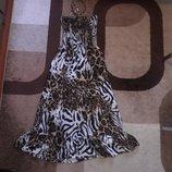 Платье миди тигровый принт на завязочках