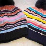 Молодежные шапки плотной вязки с помпоном -отличное качество