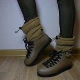 Термо взуття коричневе з флісом резина не промокають київ 36,37,38,39,40,41