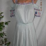 Новое пляжное натуральное платье с вышивкой