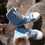 Оригїнальні високі кеди осінньо-зимові. Нат замша. Р. 39-40