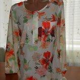 красивая блузка шифон цветочный принт размер 46