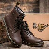 Зимние женские кожаные ботинки Dr. Martens, натуральный мех,коричневый