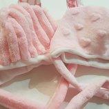 Шапка,шапочка из плюша зимняя,демисезонная,для мальчика,девочки,новорожденных,на выписку с роддома.