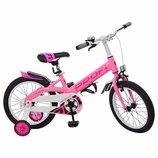 Велосипед детский PROF1 16 дюймов W16115-3 Original,розовый,крылья,звонок,доп.колеса