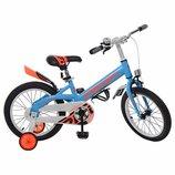 Велосипед детский PROF1 16 дюймов W16115-2 Original,голубой,крылья,звонок,доп.колеса