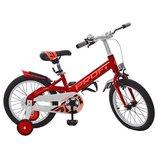 Велосипед детский PROF1 16 дюймов W16115-1 Original,красный, крылья,звонок,доп.колеса