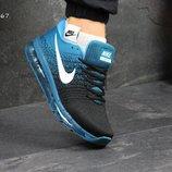 Кроссовки мужские Nike Flyknit Air Max черный с голубым