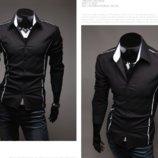 Оригинальная мужская рубашка длинный рукав приталенная M, L, XL, XXL, XXXL черный код 6