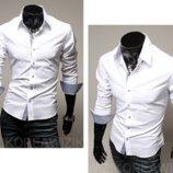 Повседневная рубашка мужская белая классическая с длинным рукавом L, XL, XXL белая