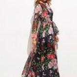 платье. Полупрозрачный принт 3D. в цветы Пояс