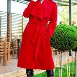 Женское модное пальто Барселона насыщенно красного цвета 42-60 рр