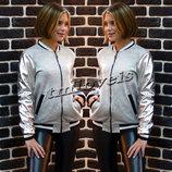 Модный теплый бомбер для девочки подростка Размеры 140-164