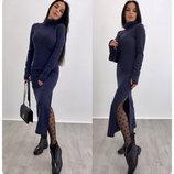 Длинное теплое платье с комфортным большим воротником Sophia AL3023