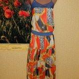 Сарафан длинный джинс с шифоном оранжевый р. 44-46