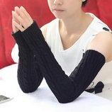 Митенки длинные перчатки без пальчиков 52см теплые косичкой
