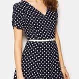 Новое, летнее платье cardo из штапеля темно-синего цвета в горошек