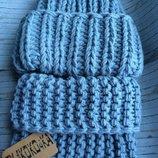 вязаная шапка ручной вязки снуд массивная пряжа