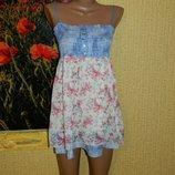 Сарафан джинс с шифоном голубой с розовыми цветочками р. 44-46 Новый