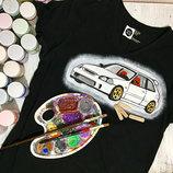 свитшот свитер футболка ручная роспись Авто Машиной Машина Автомобиль