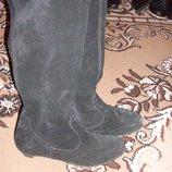 Рр 37-23,5 см стильные замшевые сапоги деми