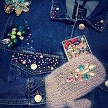 Джинсовая куртка с камнями ручная работа вышивка