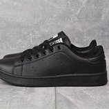 Кроссовки Adidas Stan Smith pure black, р. 36-42, код mvvk-993А