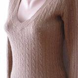 Офисный пуловер джемпер шерсть ангора косы на размеры 34/36 евро sx/s h&m