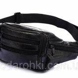 Кожаная сумка на пояс R002 черная бананка поясная барсетка через плечо мужская женская барыжка кожа