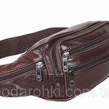 Кожаная сумка на пояс R003 коричневая бананка поясная барсетка на плечо мужская женская барыжка кожа