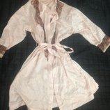 шелковый халатик халат с поясом розовый