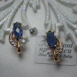 Медицинское золото Шикарные серьги с синими и белыми фианитами Позолота 18К/585