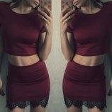 Костюм юбка мини с кружевом топ
