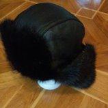 мужская меховая шапка с ушками