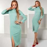 Элегантное женское платье средней длины 1142 Гольф Рубчик Миди Разрез в расцветках.