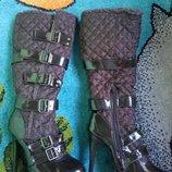 Элегантные сапоги, стёганка лак, евро-зима от Jane Norman