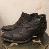 Кожаные туфли-полуботинки на меху Rieker