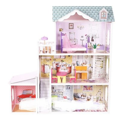 Мега большой игровой кукольный домик Beverly гараж 124см Польша. 12