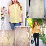 Желтая шифоновая рубашка с вышивкой